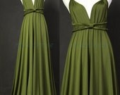 Sage Bridesmaid Dress Olive Green Infinity Dress Wrap Convertible Dress Jersey Formal Dress Gown