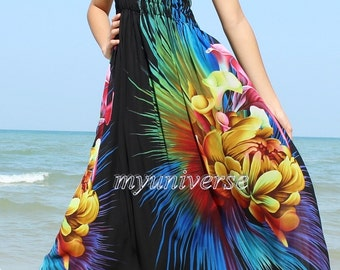 Black Maxi Dress Bridesmaid Dress Prom Summer Sundress Floral Evening Dress Formal Gowns