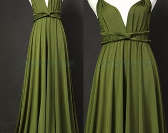 Sage Bridesmaid Dress Olive Green Infinity Dress Wrap Convertible Dress Jersey Formal Dress Gown Plus Size Clothing For Church Beach Wedding