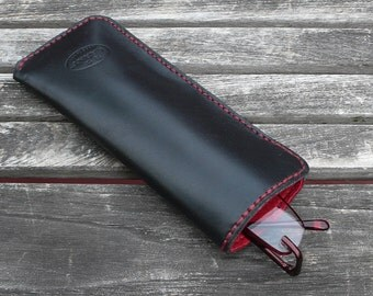 Leather Reading Glasses Case, leather case for readers, eyeglasses case,  black and red leather eyeglasses case, garny