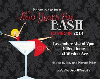 DAMASK NEW YEARS party invitation - You Print