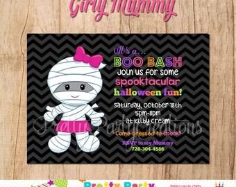 GIRLY MUMMY invitation - Halloween or Birthday - YOU Print