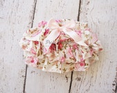 Shabby Floral Diaper cover- Baby Diaper Cover - Ruffle diaper cover -  Diaper cover - Photoprop - Ruffle  Bloomers - Newborn prop - Toddler