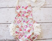 Petti lace floral romper-  Floral baby Flower Romper - Girls Sunsuit - Baby Bubble Romper - Ruffle Romper- floral bubble romper- baby outfit