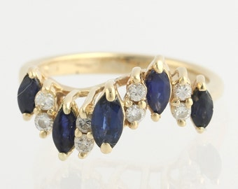 Sapphire and Diamond Curved Ring - 14k Yellow Gold Swirl Marquise Estate 1.18ctw X8220 R