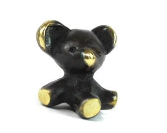Walter Bosse Bear Figurine - Vintage Mid Century Original Austrian 1960s Brass 1960s Sitting Bear Miniature