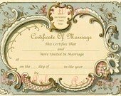 Giclée Art Print, French Edwardian Antique Marriage Certificate / Keepsake  / Reproduction 16 x 20 in (40.64 x 50.8 cm) / Suitable to frame