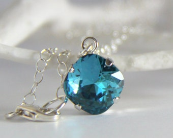 Blue Swarovski Pendant Necklace, Peacock Blue Crystal Necklace, Gift for Her
