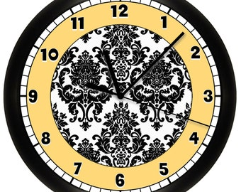 Yellow and Black Damask Wall Clock