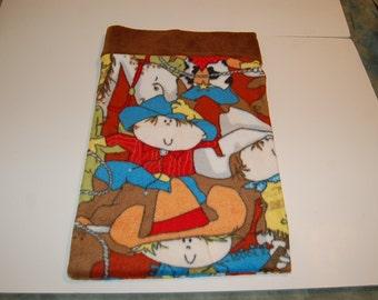 Handmade Travel Pillow Pillowcase--Cowboy Kids Fleece
