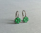 Vintage German Silver Green Enamel Good Luck Clover Leverback Earrings