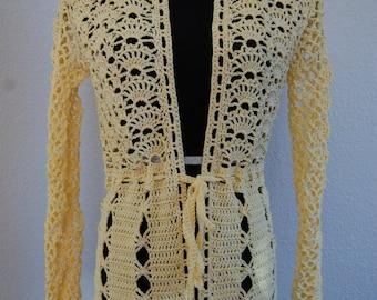 Crochet Cardigan Belted Yellow Cotton Size Medium