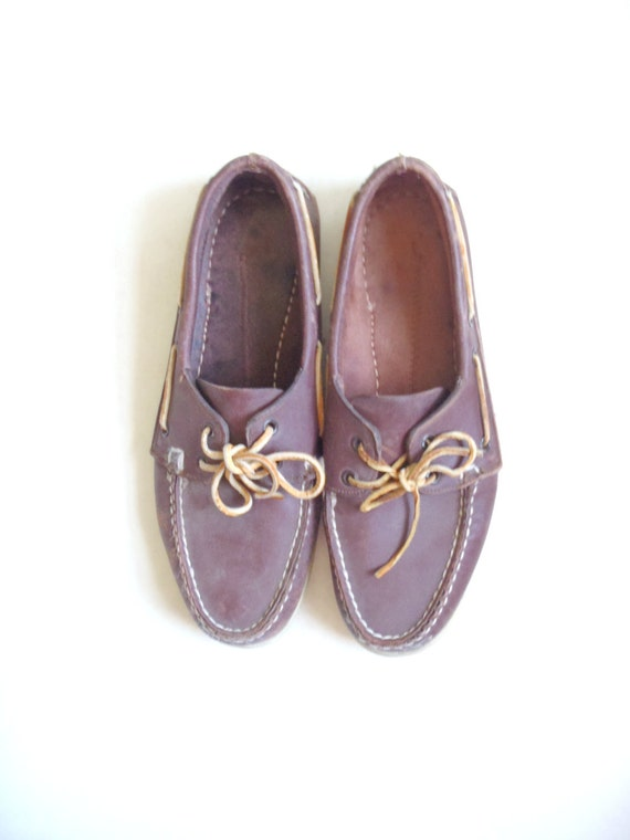 vintage sperry top sider shoes brown leather by
