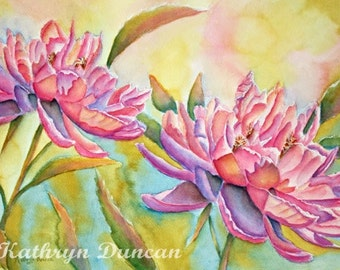 Peony Flowers Original Watercolor Painting | Pink Violet  Peonies |  matted to 16x20 | Floral Wall Art |