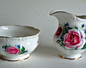 Royal Albert Cream and Sugar Set Rose England Bone China