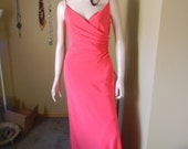 Peachy Pink coral evening Gown .Vintage formal slinky dress. travel.Holidays.Cruise.Red carpet color!