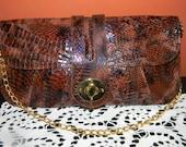 vintage Genuine Python snakeskin Clutch, Envelope purse.Snake cross body handbag.Gold chain & Hardware