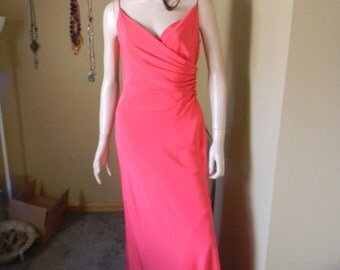 Coral vintage Evening Gown .formal slinky dress. travel.Holidays.Cruise.Red carpet .New years Gown. Prom. Pageant Gowns