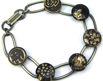 Antique Gold Czech Glass Button Bracelet