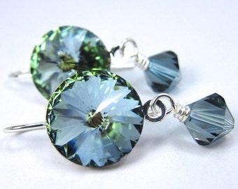 Green Crystal Sahara Precoisa Crystal Earrings in Silvertone Setting