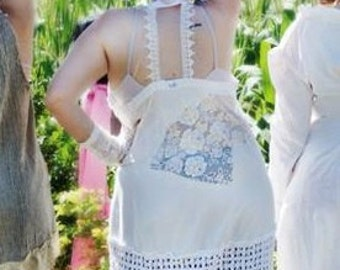 Southern Lady Lace Back Tank top Alabaster and Lace