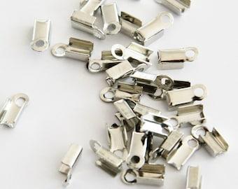 20 Silver End Cap Crimp Beads, Crimp End Fastener Clip, Cord Tip F 20 039