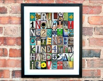 The RULES Alphabet Photography, color print,  16x20 unframed,  home decor, classroom decor, house rules