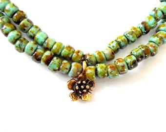 Double Stranded Yoga Bracelet, Picasso Czech Glass, Flower Blossom, Brass Beaded Bracelet, Yoga or Meditation