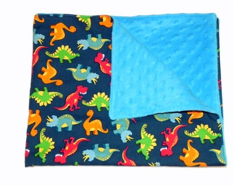 Baby Boy Blanket - Dinosaurs in red, blue, orange and green - Turquoise blue Minky