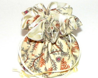 Drawstring Jewelry Pouch - Jewelry organizer -  Cream, rust and grey floral travel bag