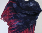 Hand Dyed, Nuno Felt Scarf or Wrap on Cotton,  Winter Flame Collection, Navy with Red Flame