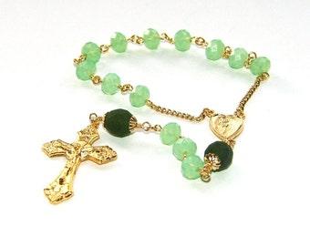 Catholic Pocket Rosary, Green Crystal Beads & Gold Crucifix