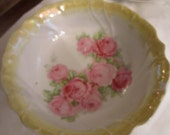 Pink and Yellow Rose Bowl with Fluted Edge