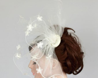 Wedding Hair Fascinator Rhinestone Crescent Sheer Illusion Tulle Blusher Alternative Ruffled Bridal Veil Unusual, Cream Ivory, Unique Design