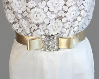 Beige Satin Ribbon Bridal Belt, Weddings Dress Sash, Rhinestone Bridal Sash, Handmade.
