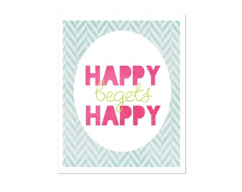 Spring Inspired Art Poster Happy Begets Happy Easter Colors Hot Pink Aqua Blue Green, Typography Art Poster, Digital Art Print