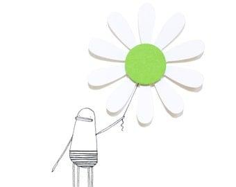 Green Daisy Card, Flower Birthday Card, Green Flower Greeting Card, Handmade Card, Blank Card for Friend, Garden, Nature, Poosac