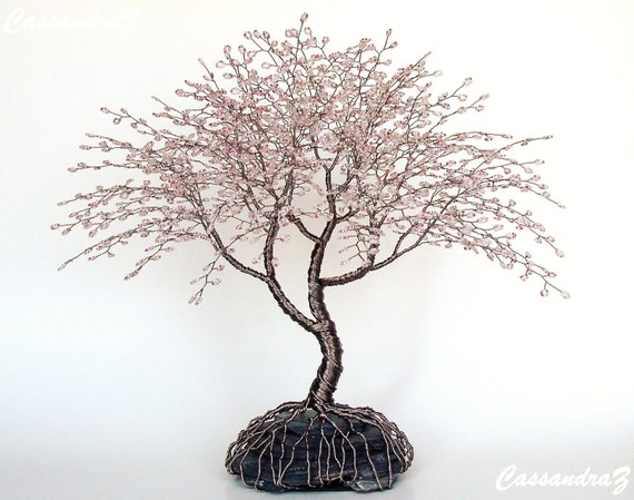 cherry blossom draht baum perlen bonsai skulptur von. Black Bedroom Furniture Sets. Home Design Ideas
