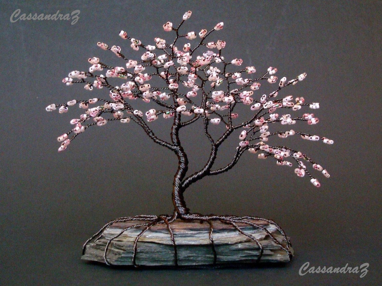 asymmetrical cherry blossom beaded bonsai mini wire tree. Black Bedroom Furniture Sets. Home Design Ideas
