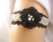 Prom Garter/Black Wedding Garter / Crystal Garter / Garter Belt / Garder