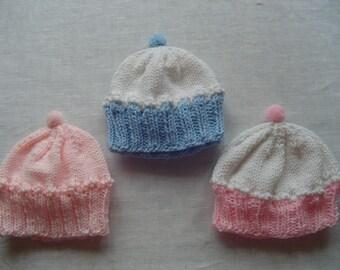 Baby Cupcake Hat - Infant Cupcake Hat - Child's Cupcake Hat - Handknit Baby Hat -Pink Hat, White Hat/Pink Hat