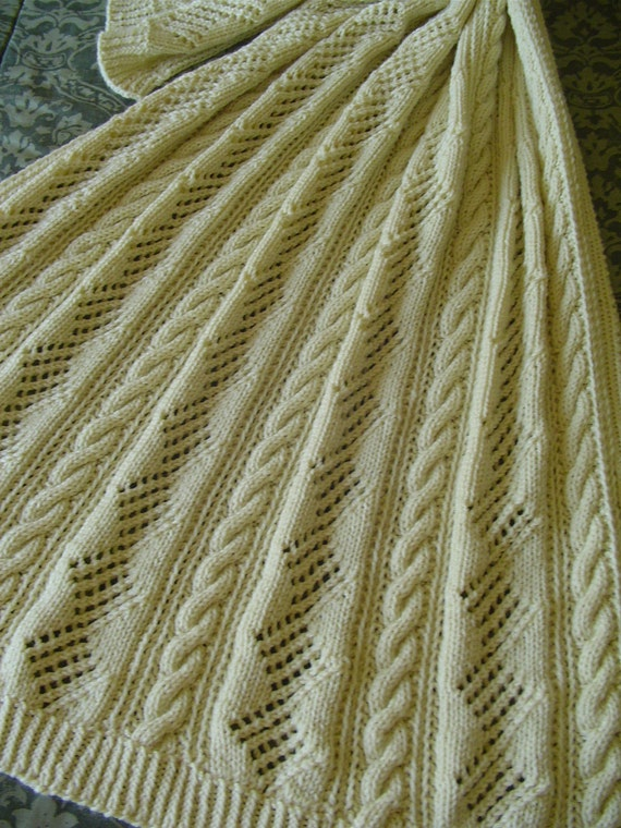 Aran Knit Afghan -  HandknitReduced Afghan or Laprobe -  For That SPECIAL Person, Wheelchair Friendly, Gift for Her, Gift for Him,  Handmade