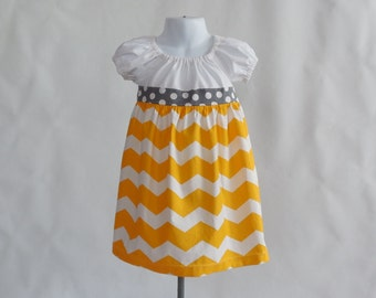 Girl's Infants Toddlers Peasant Dress  - Yellow and Gray Chevron