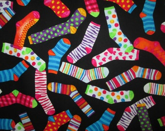 Spare Sock Colorful Sock Cotton Fabric Fat Quarter Or Custom Listing