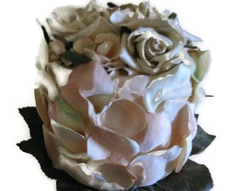 Faux Floral Cake Creme Rose Petal Bridal Party Decor