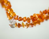 Amber teething necklace - personalized baby necklace - healing remedy - natural analgesic - baltic amber necklace - golden - DropOfAmber