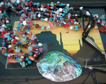"Native American Abalone Necklace ~ 4 Strand Beaded Gemstones ~ Tribal Southwestern Fashion Stone Nuggets 27.5"" Sterling Silver Gift"