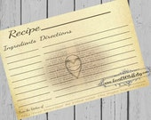 Wedding Ring Heart Recipe Cards 4x6 Printable 3x5 Bridal Shower Recipe Card 3 Sizes