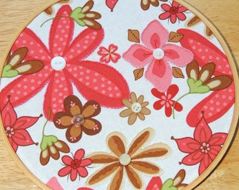 Pretty Flowered Embellished Fabric Hoop Art
