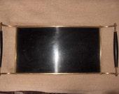 Brass Frame Genuine Beauty Bonded Formica Laminated Plastic Serving Tray  Vintage